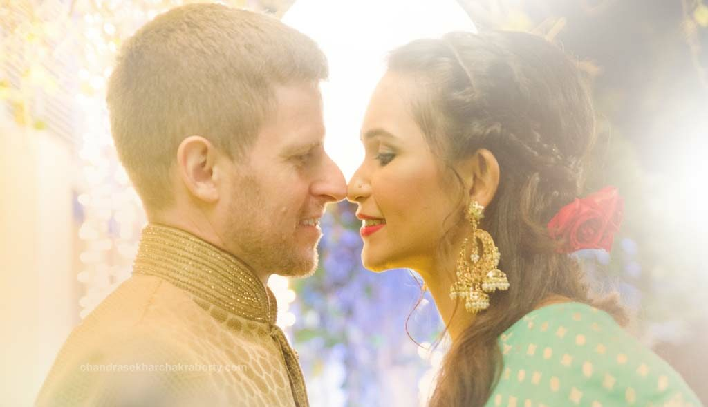 Close up of Attractive photo, before reception ceremony Indian bride and Australian groom Romantic Couple Photoshoot