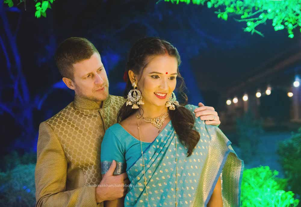 Johnny & Radhika's romantic wedding photo with indian dress at Toli Club
