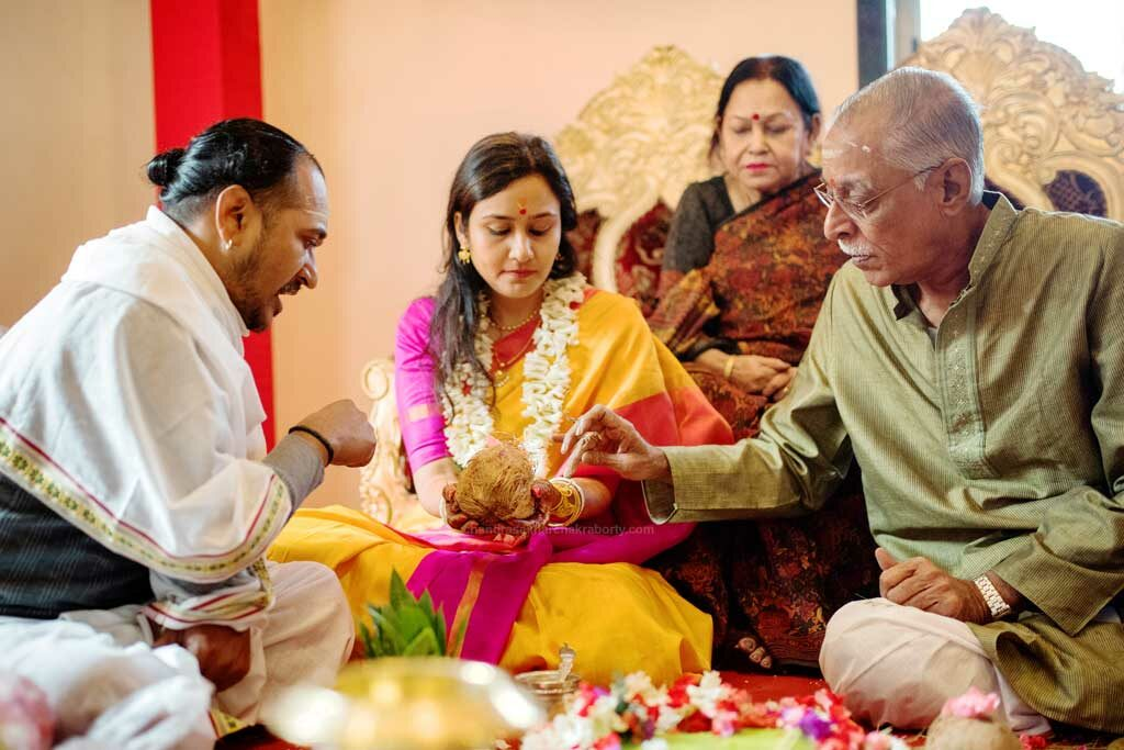 South Indian wedding rituals nanni mukh