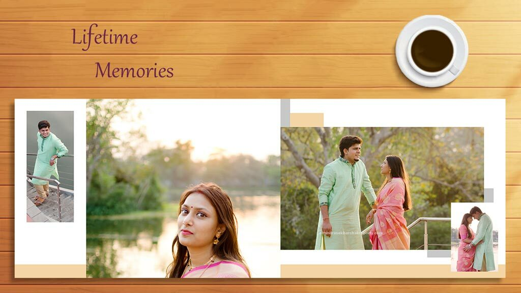 see the lifetime memories photo book of Indian pre wedding photo album, with a sip of coffee