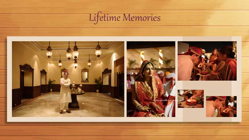 Lifetime Memories of candid wedding photography and creative design layout for photo book album